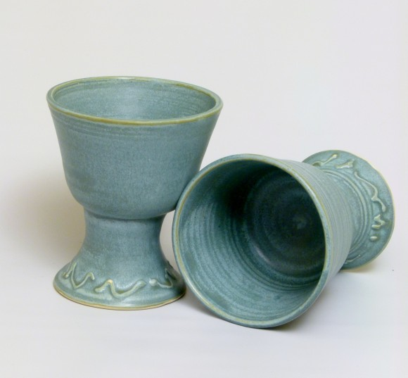 Goblets with slip trailing