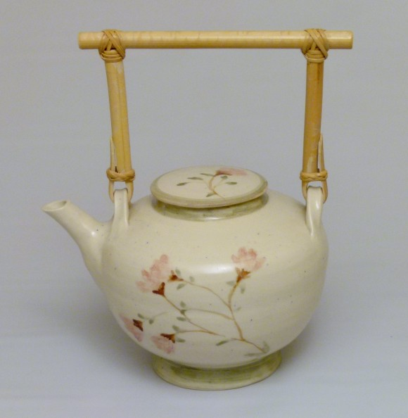 Hand Painted Teapot with Bamboo Handle
