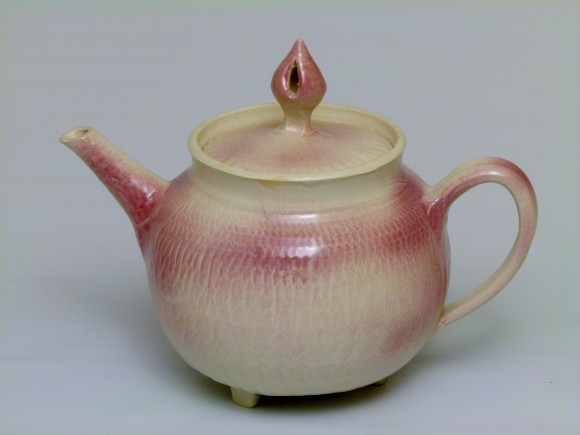 Teapot with pink overspray