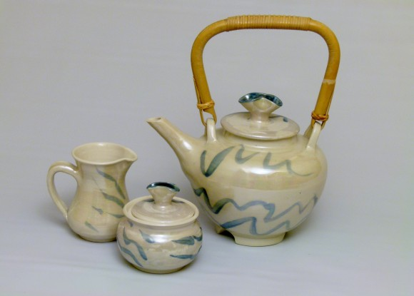 Lustered Teapot with Cane Handle and matching cream & sugar