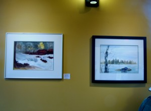 "Watercolours on display - that's ""Winter Lagoon"" on the right!"