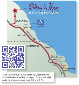 Directions from The Pottery Store with GPS QR Code