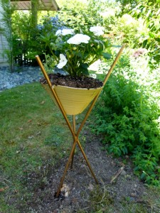 Side yard metal stand with white sunshine impatients